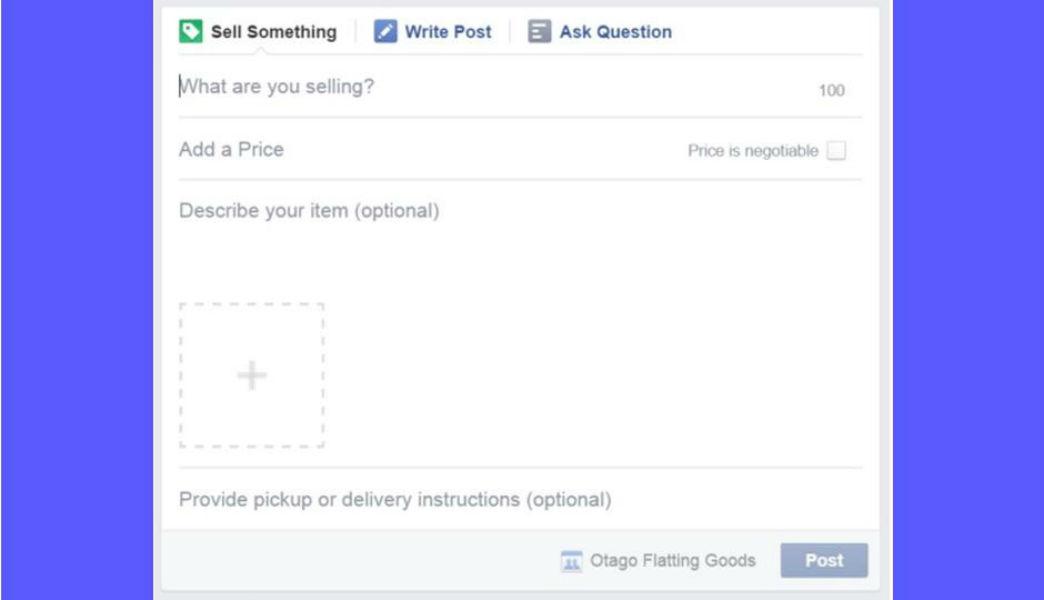 Facebook Sell button in groups Tecake