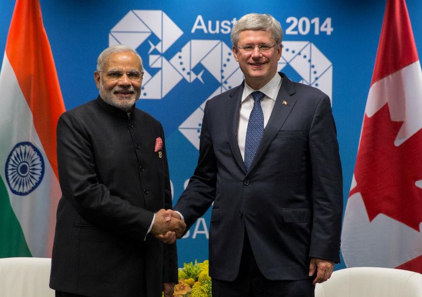 Narendra Modi and Stephen Harper TeCake