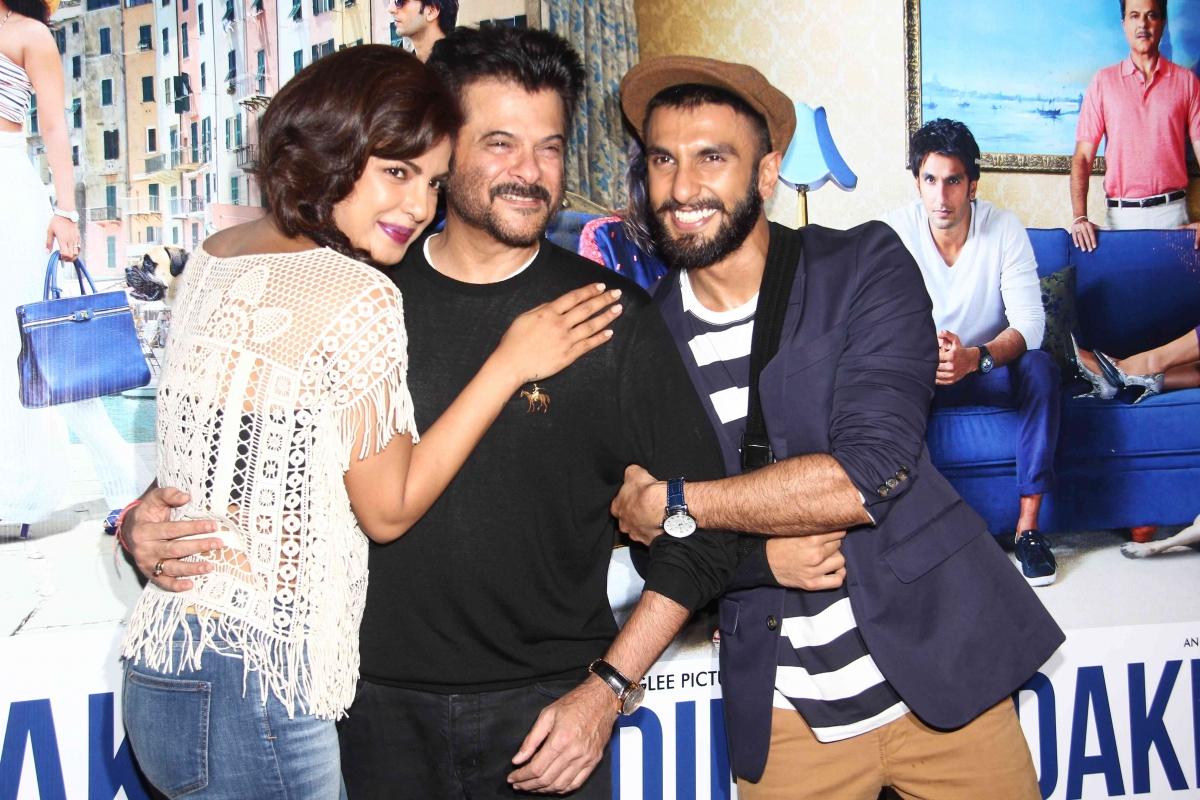 Anil Kapoor, Ranbir Singh and Priyanka Chopra while promoting Dil Dhadakne Do