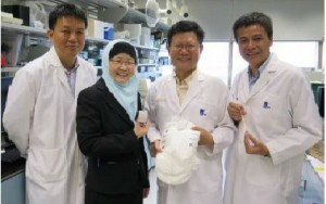 The IBN researchers who developed the diaper wetness monitoring system. From left: Dr Min Hu, Prof Jackie Y. Ying, Dr Rensheng Deng and Dr Guolin Xu. Photo Credit: Institute of of Bioengineering and Nanotechnology (IBN)