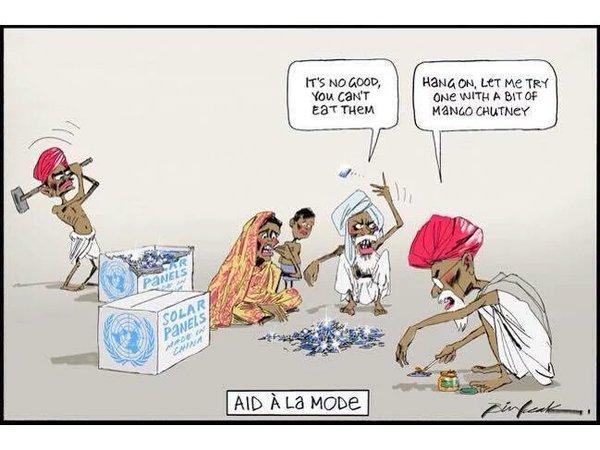 Racist Australian Cartoon shows Indians eating solar panels with Mango Chutney