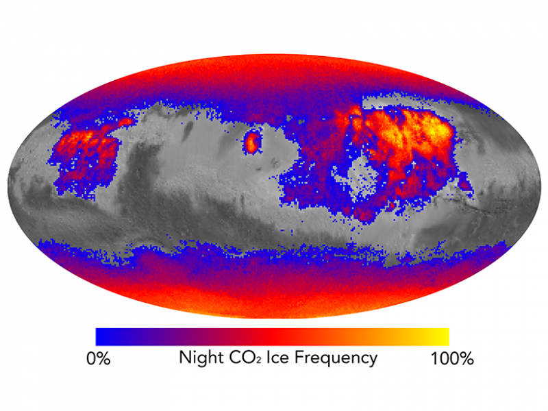 NASA MRO finds carbon dioxide frost in strange locations on Mars