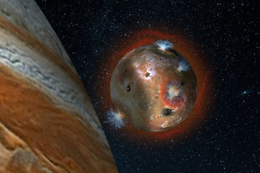 Jupiter's volcanic moon Io has a thin atmosphere that collapses in the shadow of Jupiter