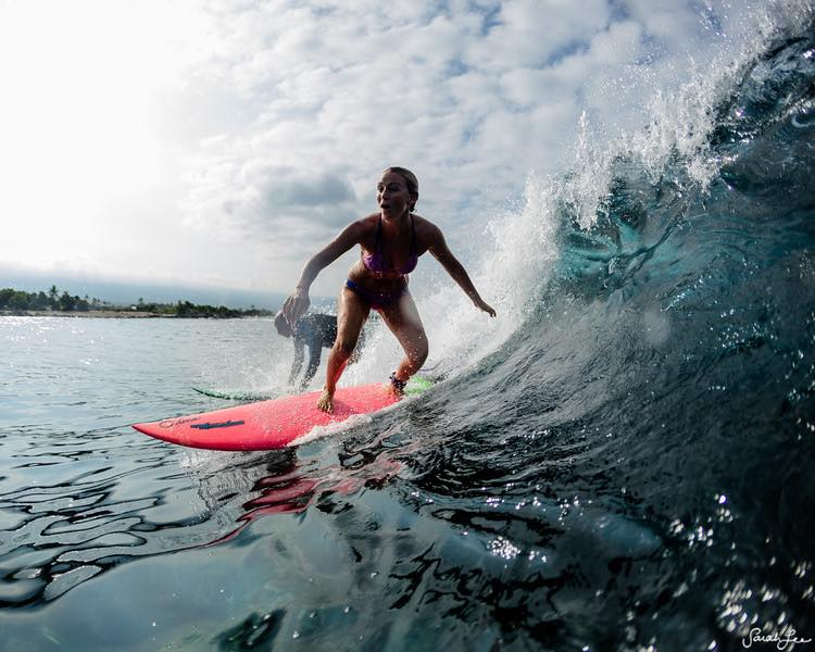 Alison Teal, first woman to surf near erupting volcano on her pink board, Watch Video