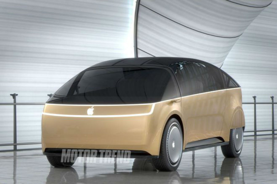 A mock up of Apple's rumored car project by a team of designers assembled by Motor Trend magazine. Motor Trend magazine
