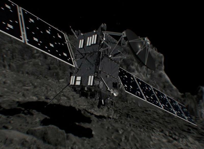Artist's impression of Rosetta shortly before hitting Comet 67p. Image: ESA/ATG medialab