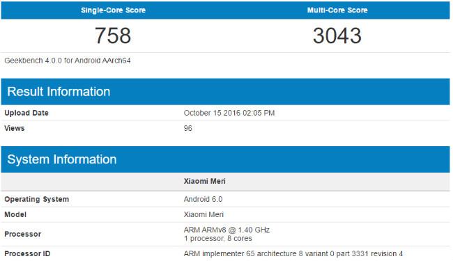 Xiaomi Meri GeekBench Score