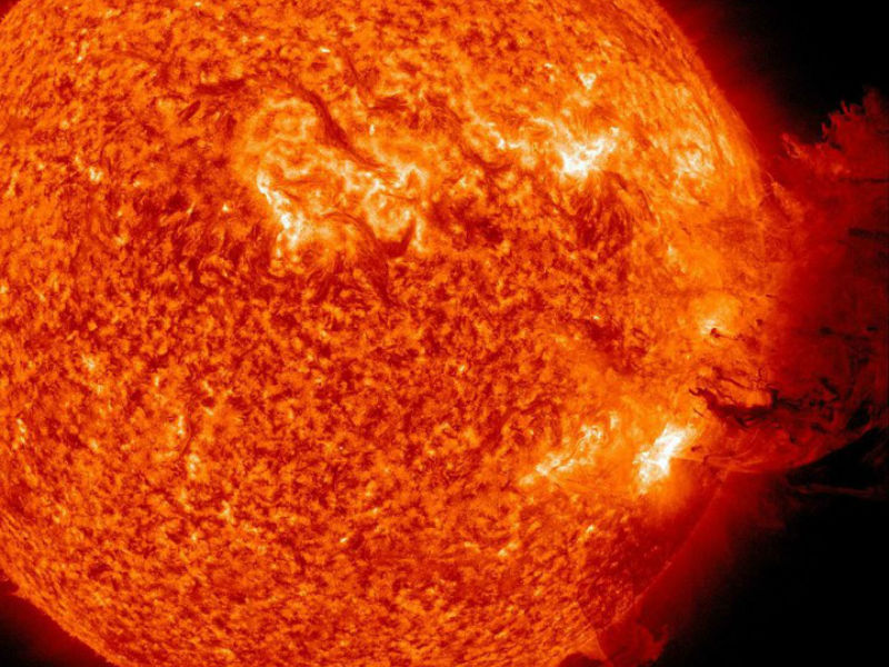 In this handout from NASA/Solar Dynamics Observatory, a solar large flare erupts off the sun June 7, 2011 in space.