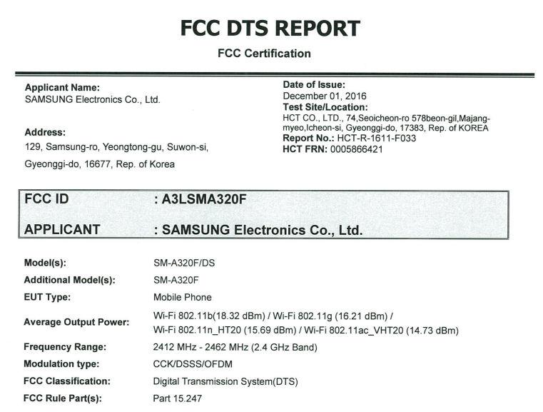 Samsung smartphone SM-A32F at FCC