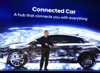 Hyundai Motor Co. Vice Chairman Euisun Chung speaks during a press event for CES 2017 at the Mandalay Bay Convention Center on Jan. 4 in Las Vegas. (Ethan Miller/Getty Images)