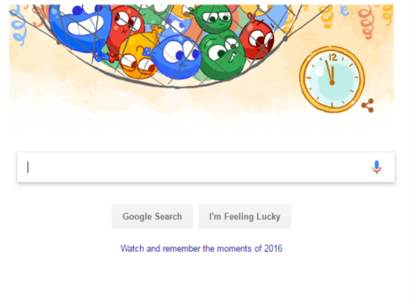 Google doodle welcomes new year