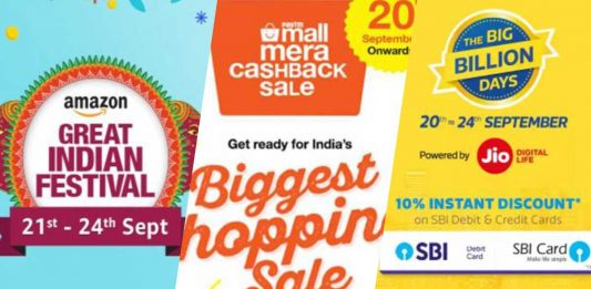 Flipkart, Amazon and PayTM September 2017 Sale Big Billion Day Great Indian Sale PayTM Mall Sale