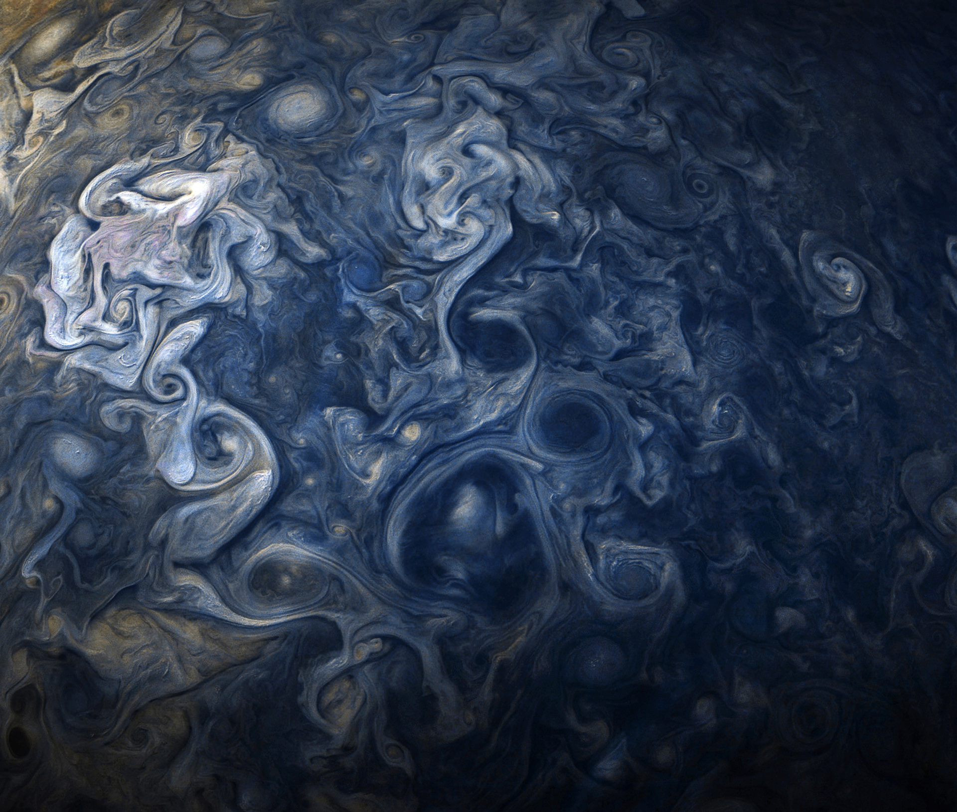 The Spectacular Blues of Jupiter Captured by Juno: Jovian clouds in striking hues