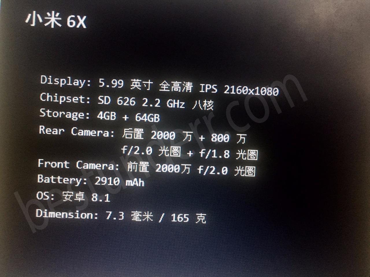 Xiaomi Mi 6x or Mi A2 Specs