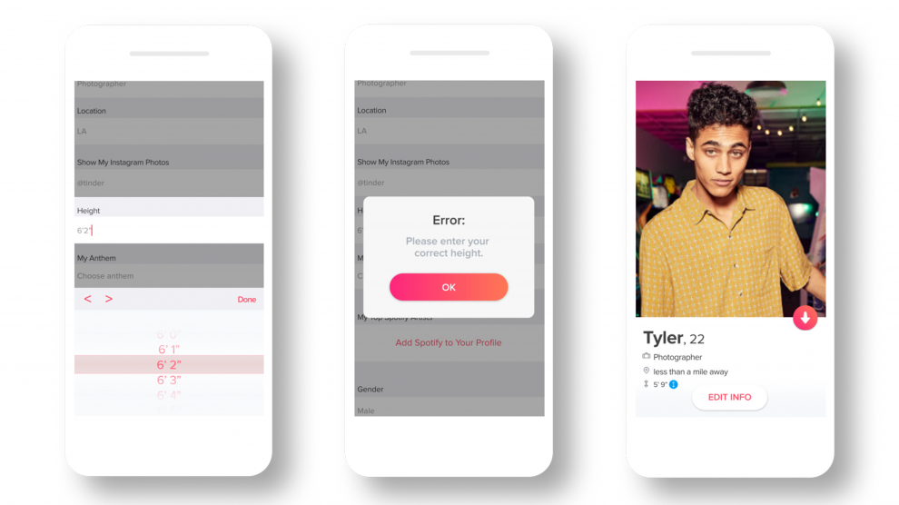 Tinder is introducing 'height verification' tool to wade off people faking their heights